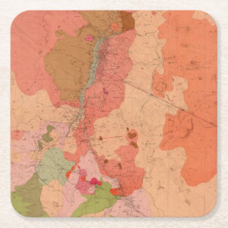 Geological Map of the Washoe District Square Paper Coaster
