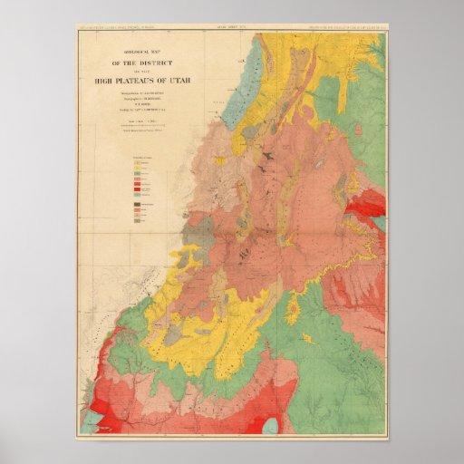 Geological map of Utah Poster