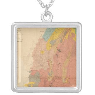 Geological map of Utah Silver Plated Necklace