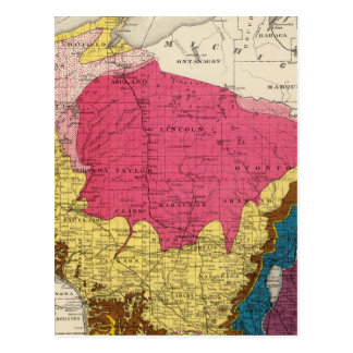 Geological map of Wisconsin Postcard