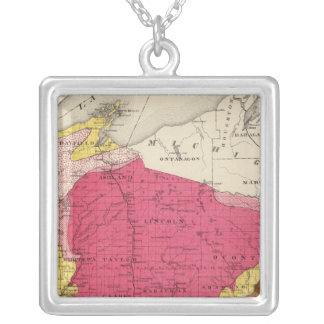 Geological map of Wisconsin Silver Plated Necklace
