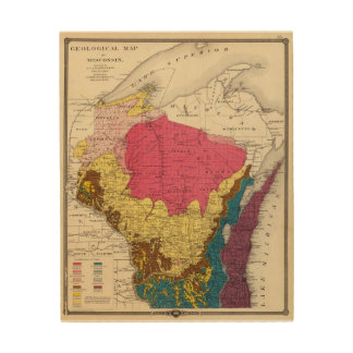 Geological map of Wisconsin Wood Wall Decor