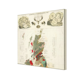 Geological, palaeontological map British Islands Canvas Print