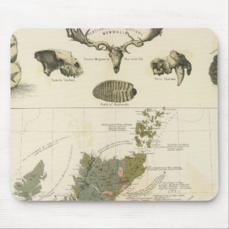 Geological, palaeontological map British Islands Mouse Mat