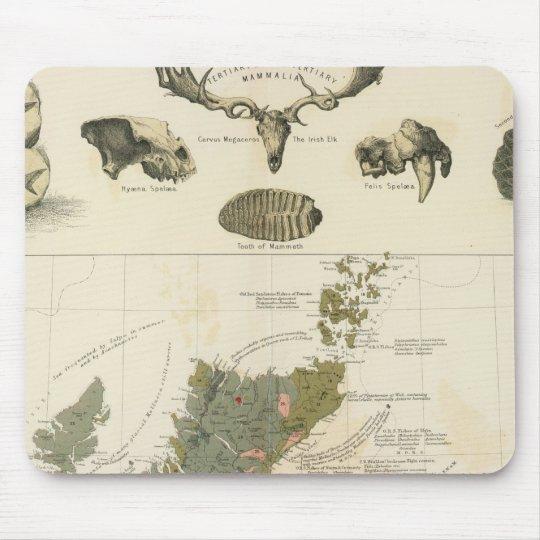 Geological, palaeontological map British Islands Mouse Mat