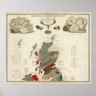 Geological, palaeontological map British Islands Poster