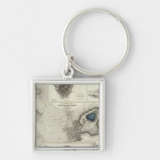 Geological phenomena Silver-Colored square key ring