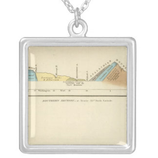 Geological sections of United States Silver Plated Necklace