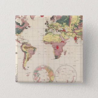 Geological structure of globe 15 cm square badge