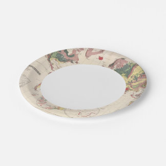Geological structure of globe 7 inch paper plate