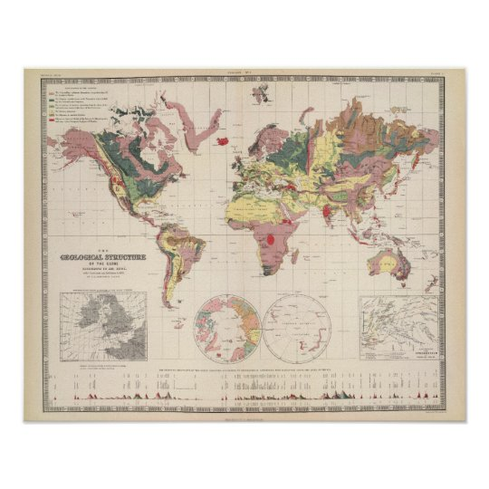 Geological structure of globe poster