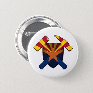 Geologist's Rock Hammer Shield- Arizona Flag 6 Cm Round Badge