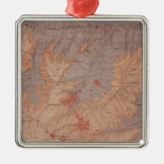 Geology Map, Yellowstone National Part, Wyoming 2 Silver-Colored Square Decoration