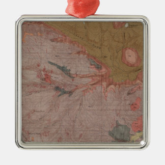 Geology Map, Yellowstone National Part, Wyoming 3 Silver-Colored Square Decoration
