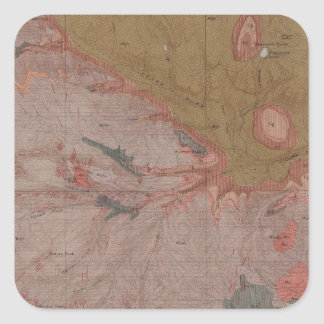 Geology Map, Yellowstone National Part, Wyoming 3 Square Sticker