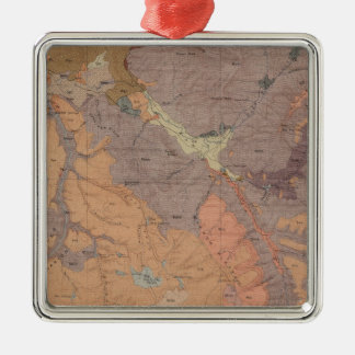 Geology Map, Yellowstone National Part, Wyoming Silver-Colored Square Decoration