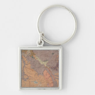 Geology Map, Yellowstone National Part, Wyoming Silver-Colored Square Key Ring