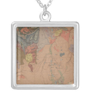 Geology Map, Yellowstone National Part, Wyoming Silver Plated Necklace