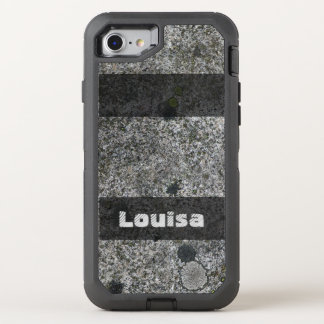 Geology Nature Granite Rock with Moss any Text OtterBox Defender iPhone 8/7 Case