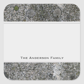 Geology Rock Grey Granite with Text Label Square Sticker