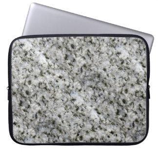 Geology Rock Texture White Granite custom Name Laptop Sleeve