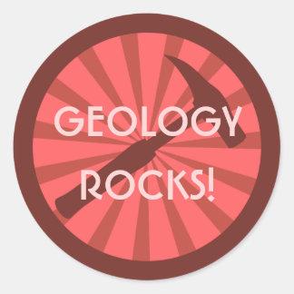 Geology Rocks! Hammer Badge Round Sticker