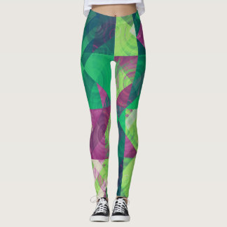GEOMESWIRLS GREEN LEGGINGS