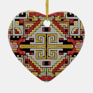 Geomethric Tribal/Ethnic Pattern Ceramic Heart Decoration