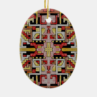 Geomethric Tribal/Ethnic Pattern Ceramic Oval Decoration