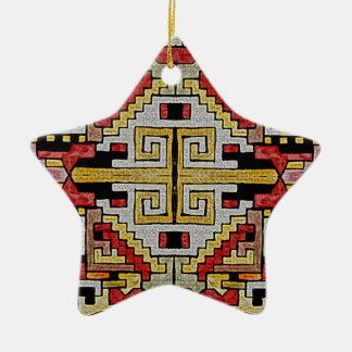 Geomethric Tribal/Ethnic Pattern Ceramic Star Decoration