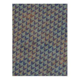 geometric02 GREY GRAYS NAVY BLUE ORANGE GRUNGE ARR Postcard