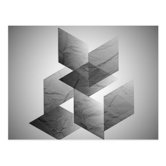 Geometric 01 black,white postcard