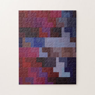 Geometric Abstract Art | Purple and Blue Tiles Jigsaw Puzzle