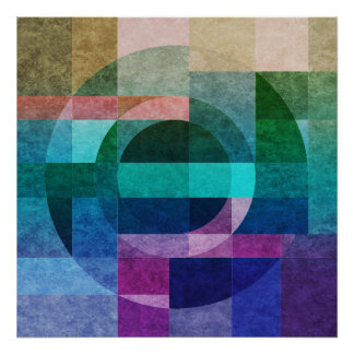 Geometric abstract colorful circle textured poster