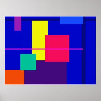 Geometric Abstract Design Deep Blue Poster