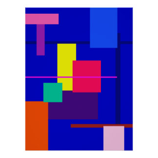 Geometric Abstract Design Deep Blue Poster