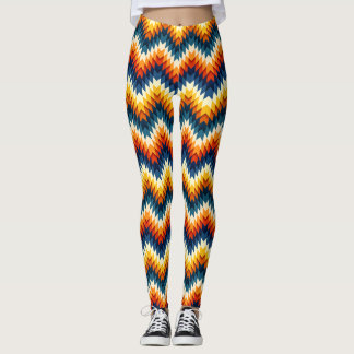 Geometric Abstract Feather Pattern Leggings