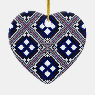 Geometric Abstract Pattern in Blue and White Christmas Ornament