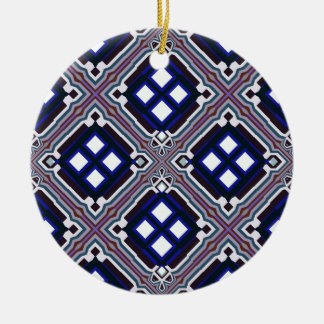Geometric Abstract Pattern in Blue and White Round Ceramic Decoration