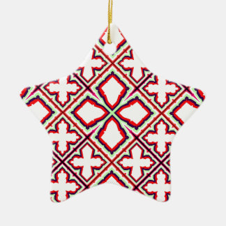 Geometric Abstract Pattern in Green, Red and White Ceramic Star Decoration