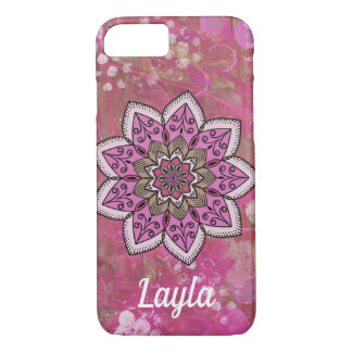 Geometric Abstract Pink Mandala Personalized iPhone 8/7 Case