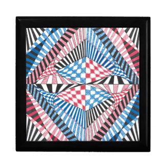 Geometric Abstract Red White Blue Bold Zen Design Large Square Gift Box