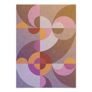 Geometric abstract retro circles in warm colors photo print