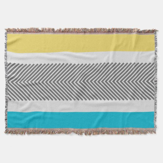 Geometric Abstract Yellow and Aqua Modern Pattern Throw