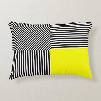 Geometric abstraction, B/W stripes yellow Accent Pillow