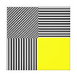 Geometric abstraction, B/W stripes yellow square Stretched Canvas Print