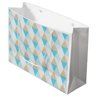Geometric aqua tan triangle pattern gift bag
