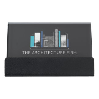 Geometric Architect Blue & Gray Desk Business Card Holder