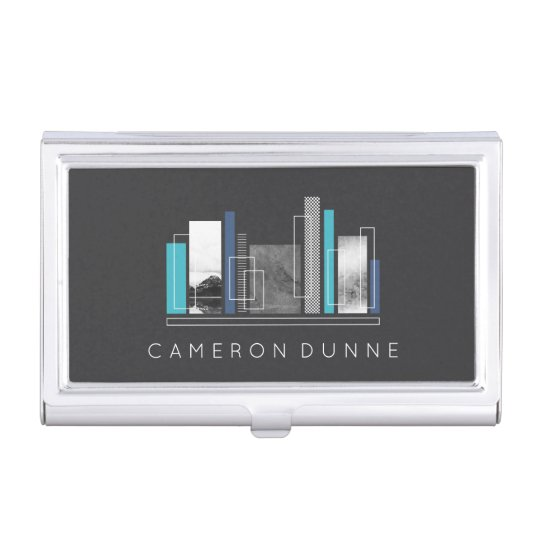 Geometric Architect Blue & Grey Business Card Holder