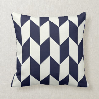 geometric arrow design // navy and cream cushion